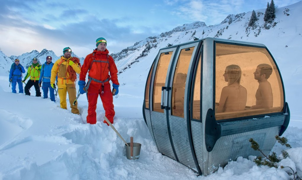 Sauna in gondellift Zwitserland