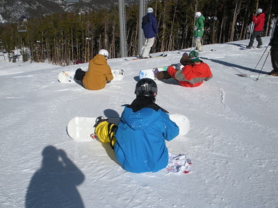Snowboarders Sitting