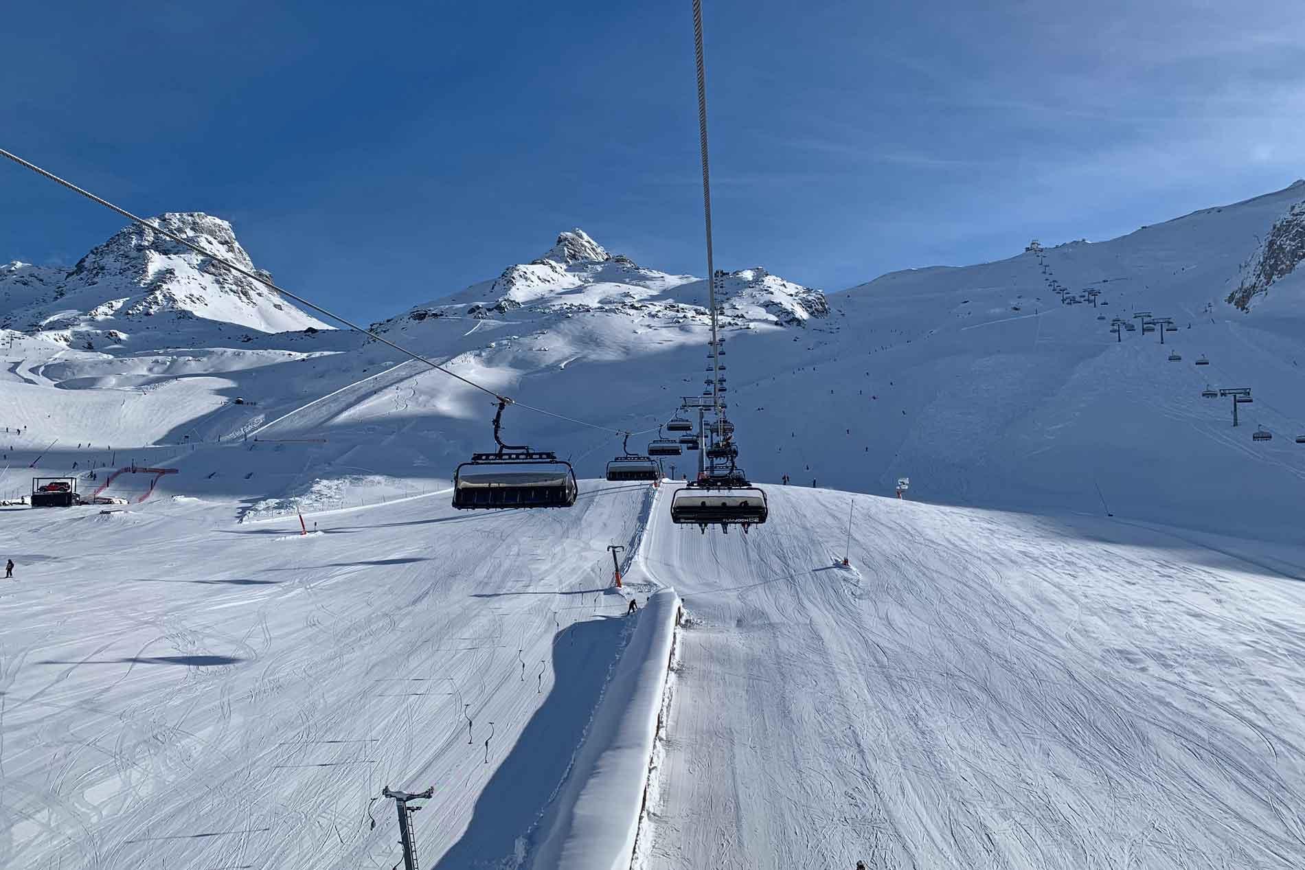 Piste en lift in skigebied Silvretta Arena Ischgl Samnaun