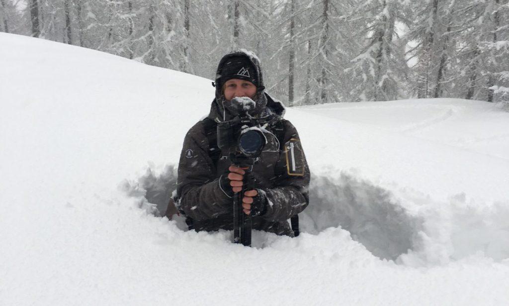 Cameraman in de sneeuw