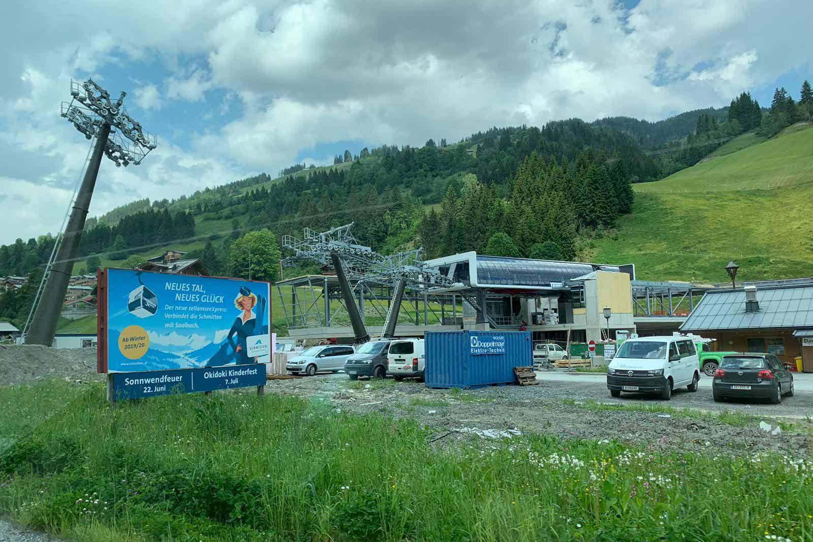 Bouwwerkzaamheden aan de verbindingslift Viehhofen - Zell am See Kaprun