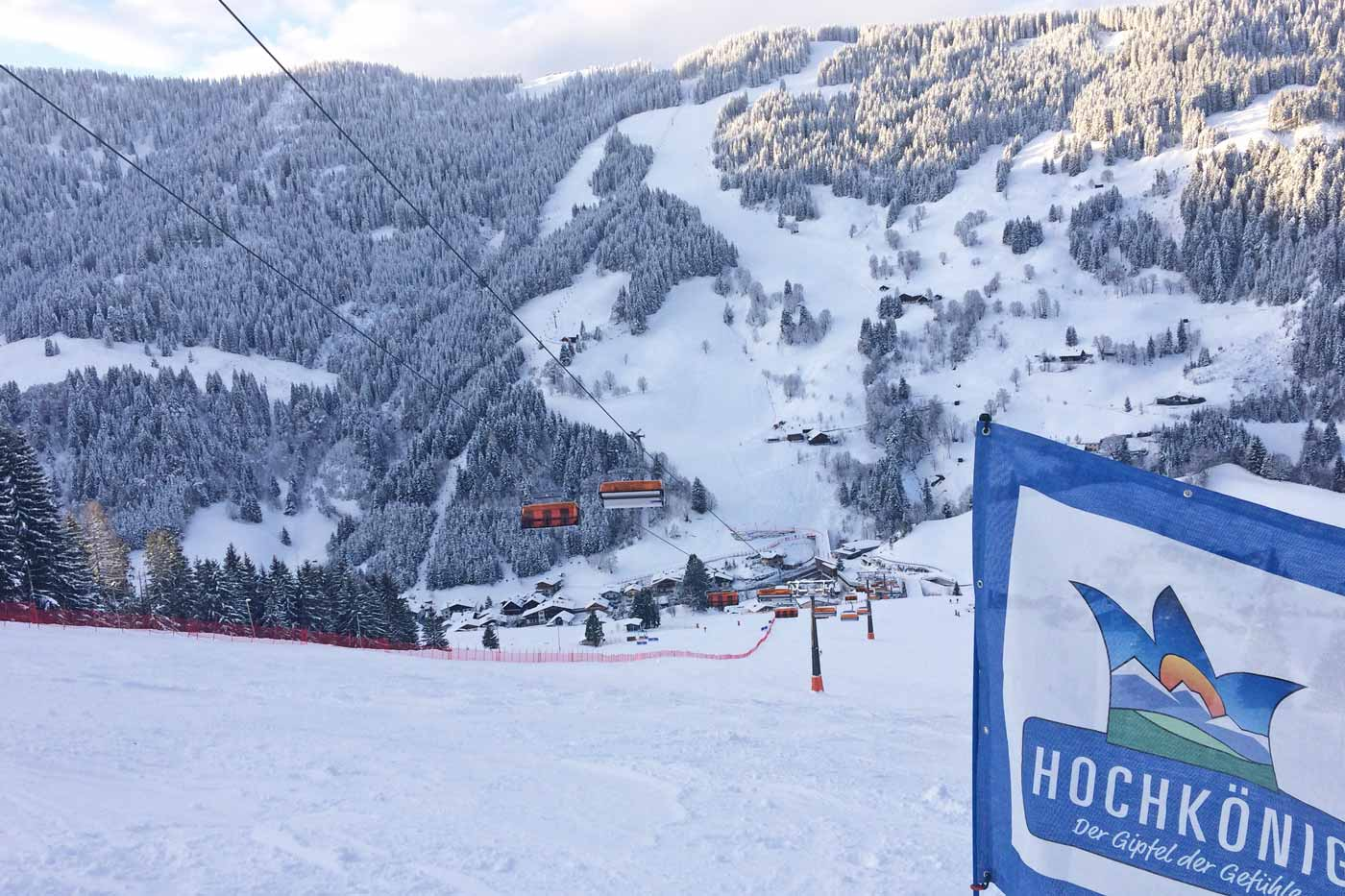 Piste en skilift in skigebied Hochkönig