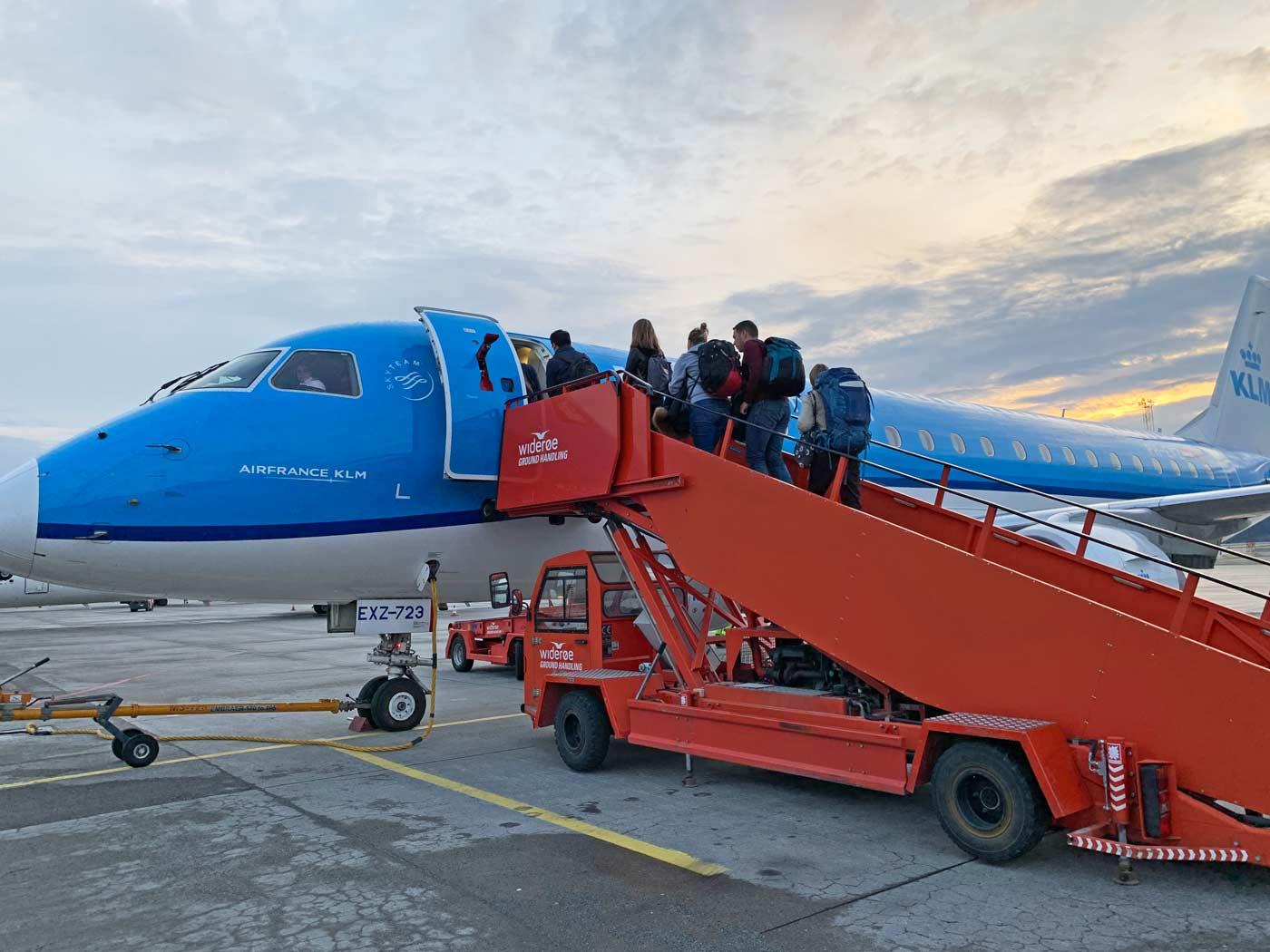KLM vliegtuig op wintersport