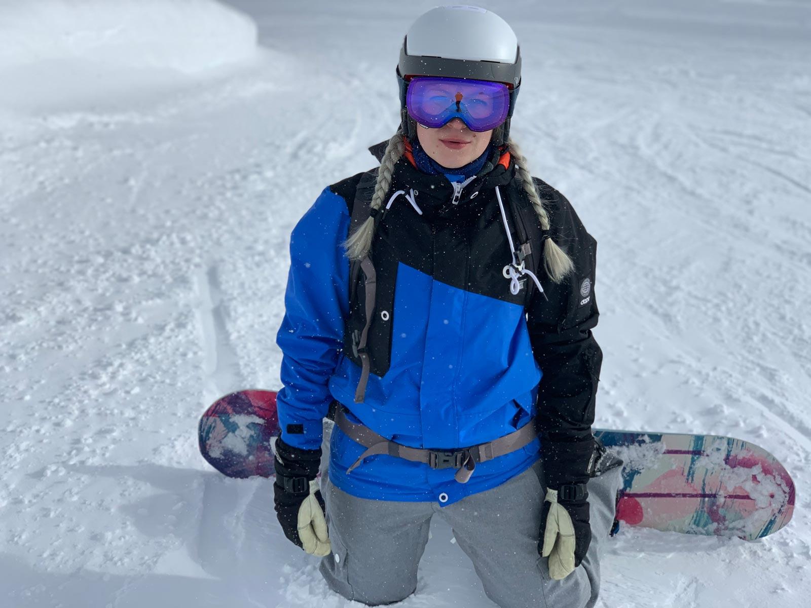 Yvonne op snowboard