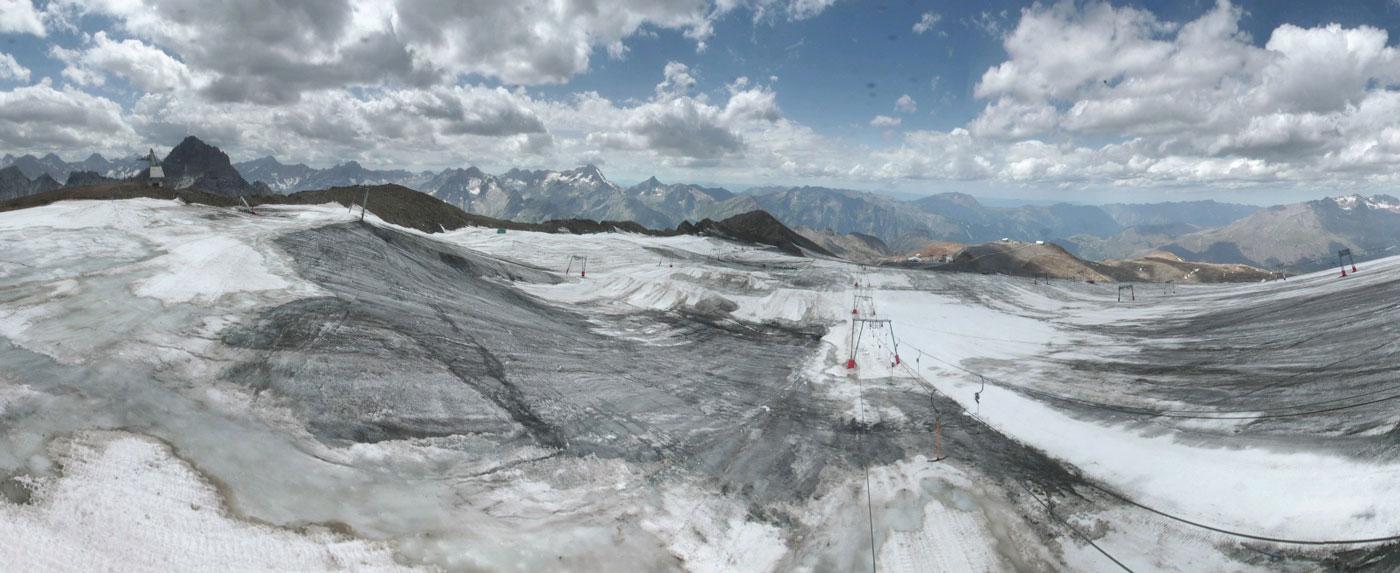 Webcambeeld gletsjer zomer Les Deux Alpes