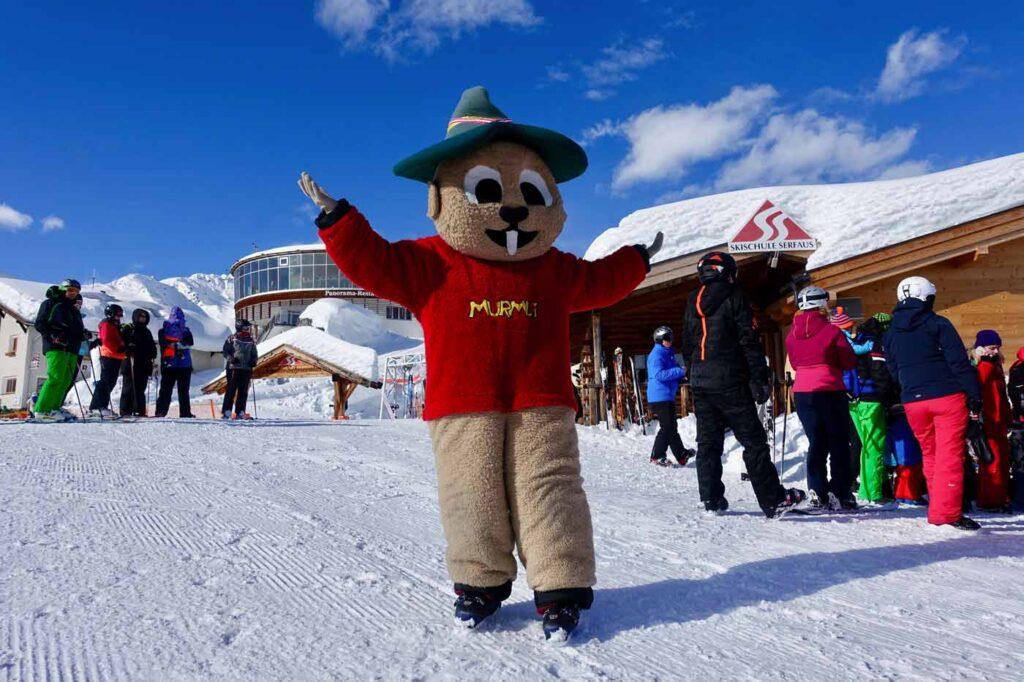 Mascotte Murmli kindvriendelijke skigebieden Serfaus Fiss Ladis