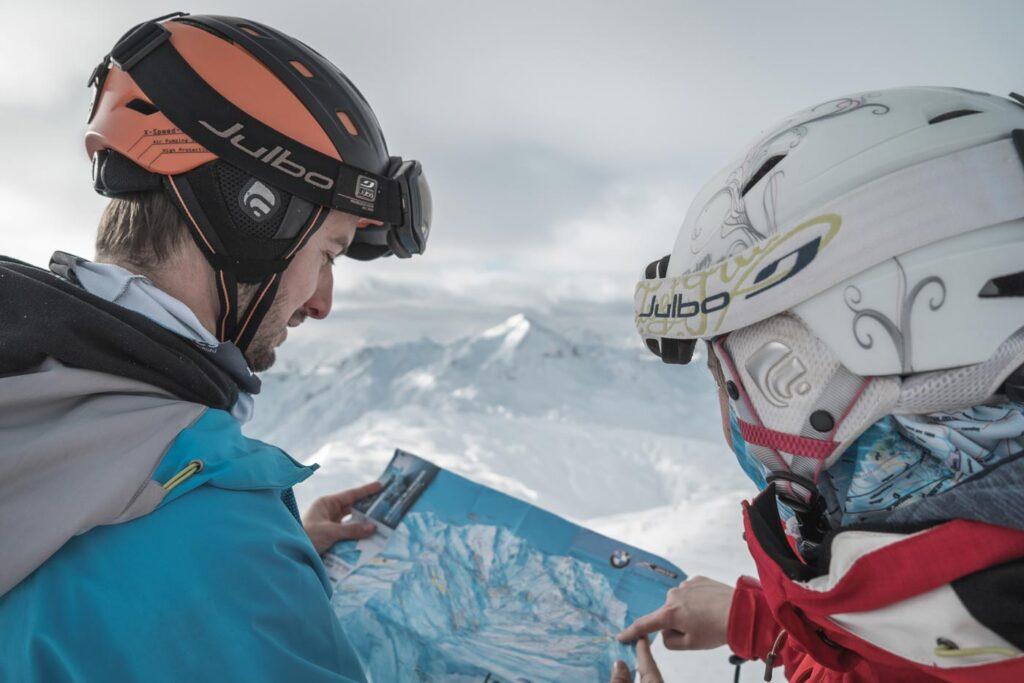 Route bepalen op wintersport