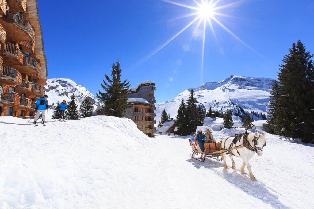 Paardenslee op wintersport