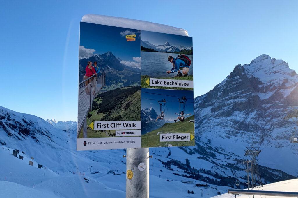 Activiteiten op bord in Grindelwald
