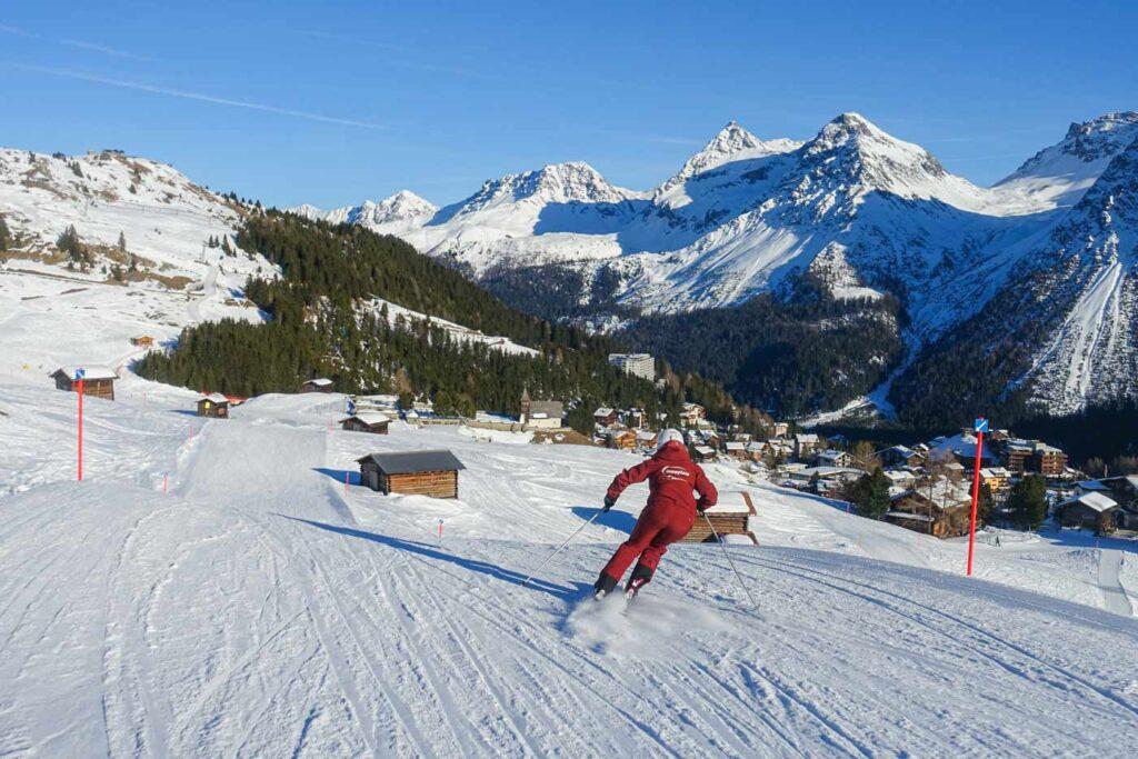 Skiën op de pistes in Arosa