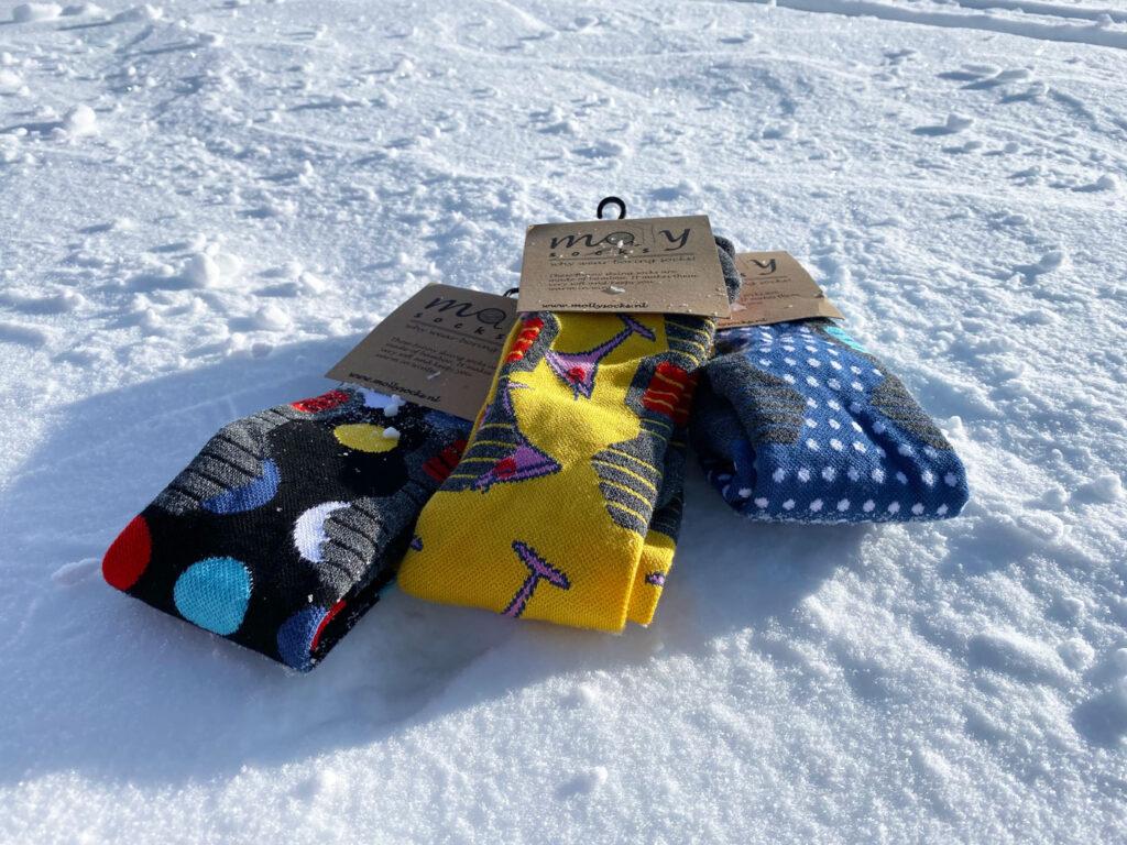 Molly Socks skisokken in de sneeuw