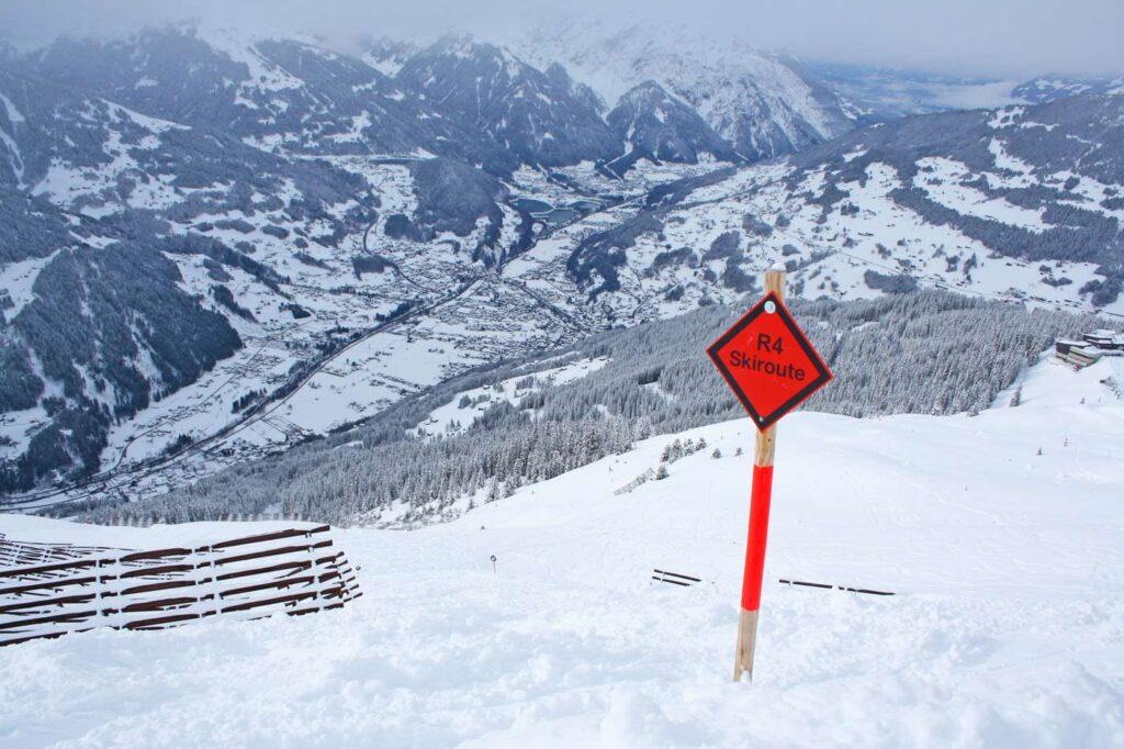 Skiroute in skigebied
