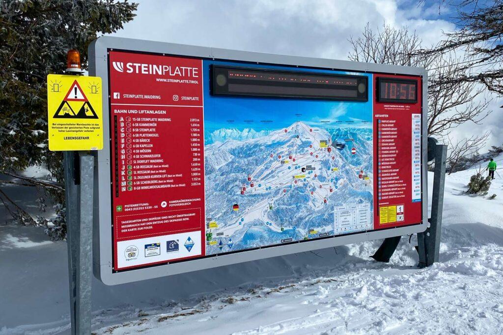 Steinplatte skigebieden niet meer dan 50 km aan pistes