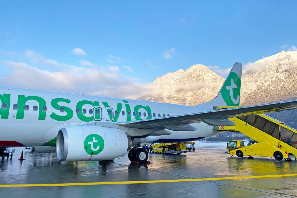 Vliegtuig Transavia wintersport vliegtuig Oostenrijk