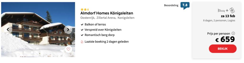 Almdorf Homes Königsleiten aanbiedingen wintersport voorjaarsvakantie