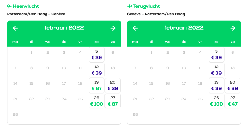Goedkope vliegtickets wintersport Transavia naar Genève