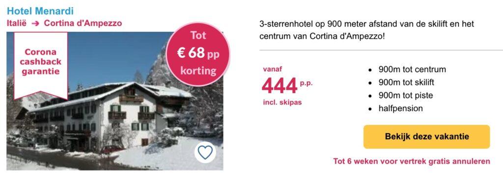 deal Hotel Menardi wintersport in Cortina d'Ampezzo