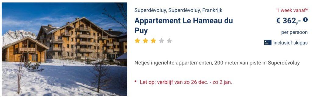 aanbieding appartement le Hameau du Puy wintersport kerstvakantie