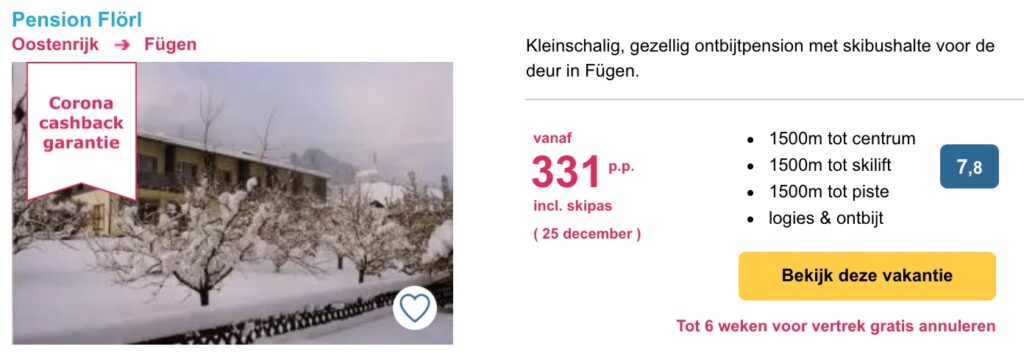 Aanbieding Pension Flörl wintersport kerstvakantie