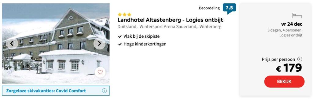 aanbieding Landhotel Altastenberg wintersport kerstvakantie