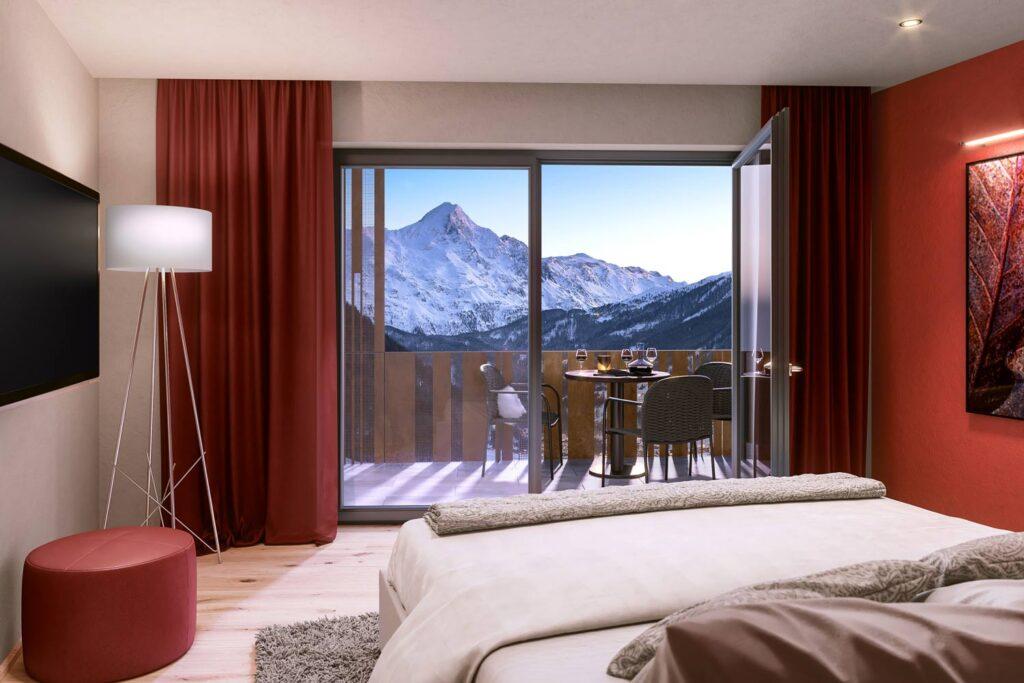 Uitzicht Sölden vanuit hotelkamer